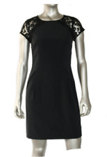Aidan Black Pleated Crepe Cocktail Woman Dress Lace Sleeve Back Cutout 2P