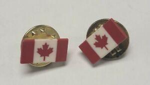 2 Canadian Flag Collar Lapel Pin Insignia Small Plastic Pins