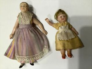 Vintage Celluloid Jointed Dollhouse Dolls (2)