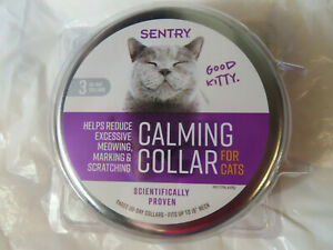 SENTRY 3 CALMING COLLARS FOR CATS THREE 30-DAY COLLARS FACTORY SEALED