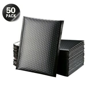 50Pcs Bubble Mailers Padded Envelopes Lined Poly Mailer Self Seal Black 3 Size