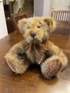 First & Main Minky Brown Teddy Bear Plush Corduroy Feet Stuffed 9 Inch
