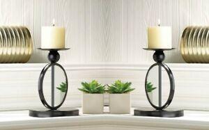 2  Pillar Candle Holder Stands Modern Black Single Circle Mirrored