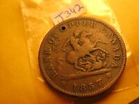 Bank Of Upper Canada 1857 One Penny Token IDJ342.