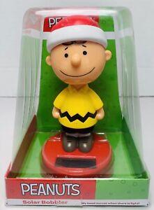 Solar Powered Dancing Bobble Head Peanuts Charlie Brown  w/Santa Hat