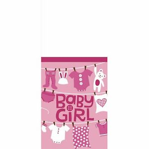 Cute as Button Girl Clothesline Teddy Bear Baby Shower Party Plastic Tablecover