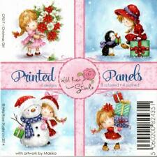 "Wild Rose Studio - Printed Panels - Christmas Girl - 4"" x 4"" - 12 Sheets"
