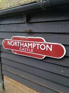 NORTHAMPTON totem enamel sign British Rail station BR Northampton Castle sign
