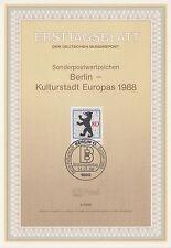 TIMBRE FDC ALLEMAGNE  BERLIN  OBL ERSTTAGSBLATT CAPITALE CULTURELLE  1988