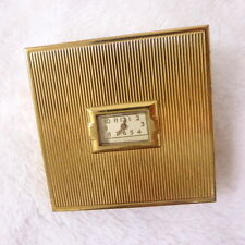 Vintage Gold Tone Evans Powder Compact With Running Clock