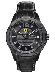 Scuderia Ferrari 0830093 Black Leather Strap Men's Watch