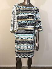 NWT Hale Bob abstract printed striped white black batwing blouson dress size L