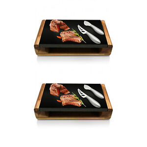 NutriChef Hot Lava Stone Sizzling Grill Wood Tray Platter with Knives (2 Pack)