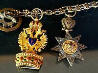 19th Century Austrian Gold  Enameled Miniature Iron Crown & Star Medals Chain
