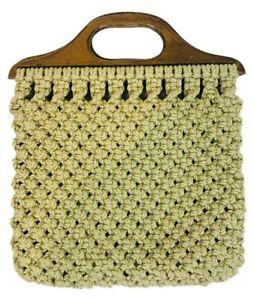 Vintage Macrame Crochet Handbag Purse Bag Handmade Boho Hippie Wood Handles