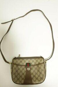 Authentic Vintage Gucci Canvas PVC Shoulder bag Crossbody  #8639