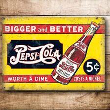 Pepsi COLA INSEGNA IN METALLO STILE VINTAGE NUOVO 20cm x15cm H