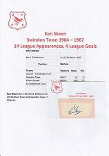 Ken Skeen Swindon Town 1964-1967 original hand signed Coupe/Carte