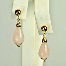 14k solid y/gold 12x8mm briolette natural Rose Quartz elegant earrings 2.6 grams