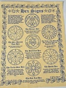 """PAGAN PARCHMENT POSTER """"HEX SYMBOLS""""  Witchcraft ~ BOS Guides ~ Wicca ~ Celtic"""