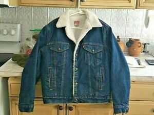 Vintage Levis San Francisco Sherpa Snap 42R Men's Denim Jacket USA made