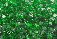 100 MIYUKI CUBE BEADS TRANSPARENT GREEN 4MM