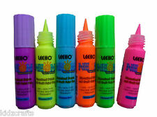 3D Fabric & Craft Paint Pens - NEON - Pack of 6 - Assorted Colours - 20ml each