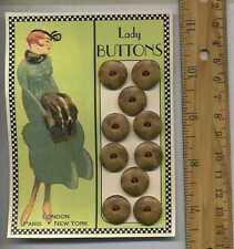 10 Fancy Carmel Tortoise Bakelite fans = VINTAGE BUTTONS = Cassie Annie ART CARD