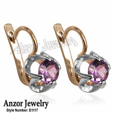 Russian Jewelry 14k Rose & White Gold Lab-Created Alexandrite Earrings #E1122