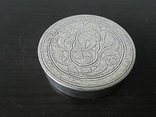 Egyptian Round Box Engraved With Islamic Design Sterling Silver C.1900