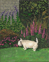 8X10 PRINT OF PAINITNG WEST HIGHLAND TERRIER RYTA WESTIE GARDEN FLOWERS DOG PET