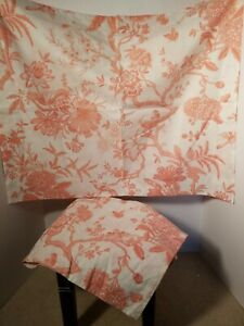 Pair Ballard Designs Jardin Toile Standard Pillow Shams Pink / White EUC