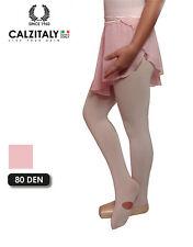 Collant Convertibile Danza Bambina, Calze Balletto Rosa, 80 DEN, Made in Italy