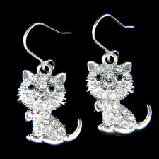 w Swarovski Crystal ~Cute KITTY CAT~ kitten Pet Animal Dangle Earrings XMAS Gift