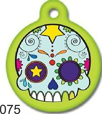 Pet Tags Personalized Pet ID tag for Dog and Cat ROUND Tags Charm Skull Dog Tag