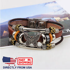 Women's Butterfly and Bead Charms Leather Wristband Bracelet