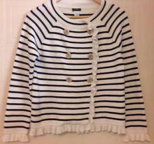 J Crew Katie Navy Blue Cream Striped Sweater Jacket Cardigan M
