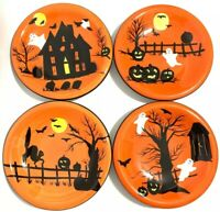 "Hand Painted Haunted Hideaway Halloween (4) Salad/Dessert Plates 8"" Sakura"