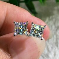 Fashion Princess White Sapphire Square Stud Earring High Quality 925 Silver Gift