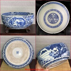 Great Japanese Edo Period 18thC 19thC Arita Imari Blue and White Porcelain Bowl