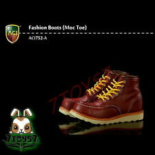 ACI Toys 1/6 ACI752-A Fashion Boots Moc Toe_ Light Brown boots _Now AT085A