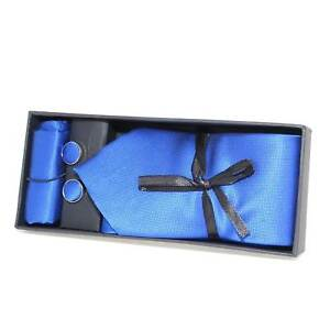 Set coordinato art:00235 uomo cravatte con gemelli e pochette blu fantasia elega