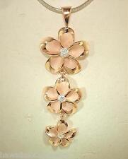 18-15-12mm Silver Hawaiian 14k Rose Gold Brushed Satin Plumeria Pendant #3