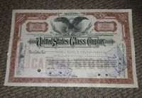 STOCK CERTIFICATE 20 Shares US UNITED STATES GLASS COMPANY CO Pennsylvania OLD!