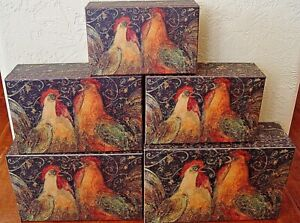NEW Bob's Boxes (A Rooster's Holiday) 5 Piece Gift Nesting Boxes