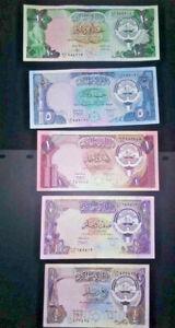 KUWAIT 1991 Set of 5 Kuwait Dinar Banknotes X FINE/ GULF ARAB MONEY
