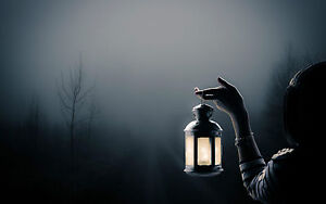 Framed Print - Gothic Woman Holding a Lantern in a Dark Grim Forest (Picture)