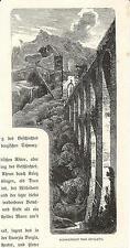 Stampa antica SPOLETO Perugia ponte-acquedotto Umbria 1880 Old antique print