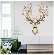 Deer Head Flowers Birds Wall Sticker Removable PVC Decal Kids Room Decor Mural