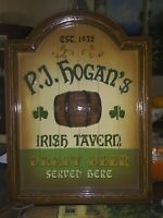 IRISH PUB WOODEN NOVELTY SIGN P.J HOGAN'S IRISH TAVERN. 16 X 12 MAN CAVE? 🍀